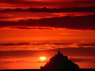 Mont Saint Michel at Sunset, Mont St. Michel, France