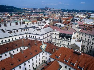 Rooftops of Nove Mesto Towards Prague Castle, Prague, Czech Republic