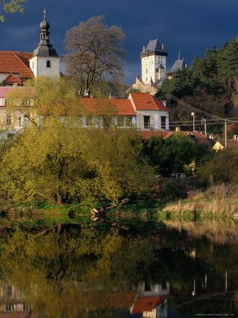 Village Buildings Reflected in Water, Karlstejn, Czech Republic