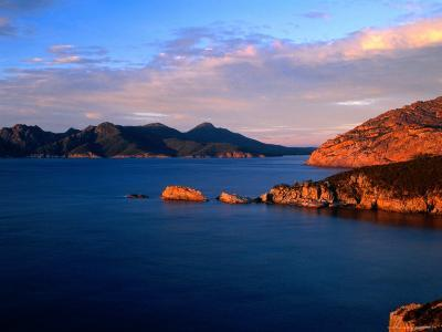 Carp Bay and Thouin Bay, Peaks of Mt. Freycinet & Mt. Graham, Freycinet National Park, Australia