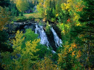 Waterfall and Autumn Colours with House in Background, Silver River Falls, Keweenaw County, USA