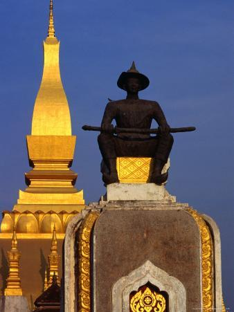 Statue of Seated King Setthathirat in Grounds of Pha That Luang, Vientiane, Laos