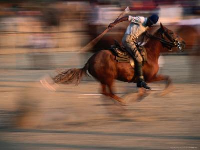 Man Riding Horse at Annual Pushkar Mela, Pushkar, India