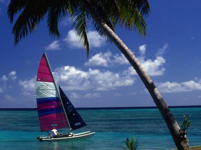Man Sailing Boat, Wakaya Island, Eastern Division, Fiji