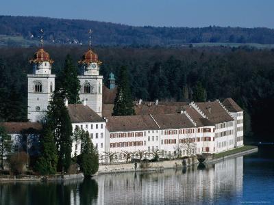Cloisters with Twin Towers on Banks of Rhine River, Rheinau, Switzerland