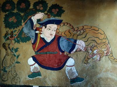 Detail of Wall Painting in Tamzhing Goemba, Choskhor or Bumthang Valley, Jakar, Bumthang, Bhutan