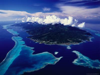 Aerial View of Island and Surrounding Reefs, French Polynesia