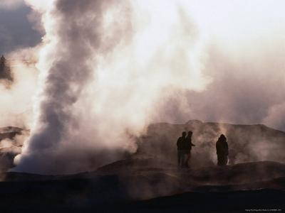 People Silhouetted Against Steam from Geyser Vent, Sol De Manana, Bolivia