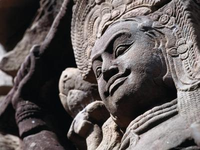 Detail of Carved Statue at the Terrace of the Leper King, Angkor Thom, Angkor, Cambodia