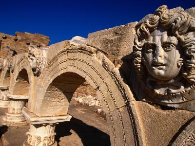 Gorgon Medusa Head on the Arches of the Severan Forum, Leptis Magna, Al Khums, Libya