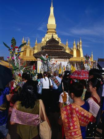 Crowds Celebrating Festival That Luang, Luang Prabang, Laos