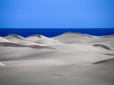 Gran Canaria Sand Dunes with Ocean in Distance, Maspalomas, Canary Islands, Spain