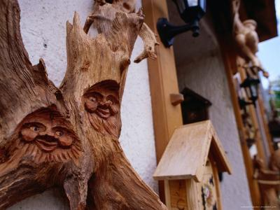 Carvings Outside Woodcarving Shop in Black Forest, Triberg, Baden-Wurttemberg, Germany