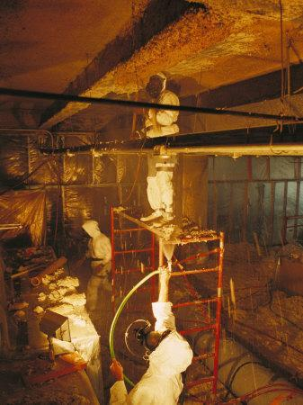 Workers Use Caution While They Scrape and Bag Toxic Asbestos, New York