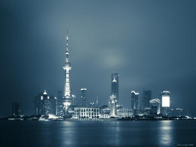 China, Shanghai, Pudong Skyline Across Huangpu River