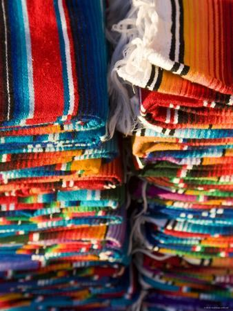Blankets in Market, Local Craft, San Cristobal de Las Casas, Chiapas Province, Mexico