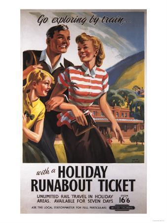 Great Britain - Family Trio on Holiday Runabout Savings British Rail Poster