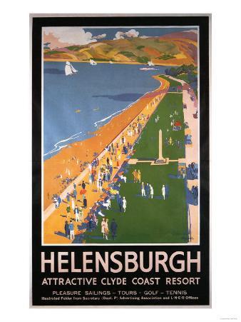 Helenburgh, Scotland - Crowds along Clyde Coast Beach Railways Poster