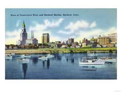 Hartford, Connecticut - Connecticut River View of the Hartfort Skyline, Waterfront