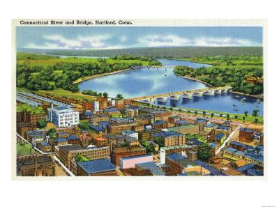 Hartford, Connecticut - Aerial View of the City and the Connecticut River