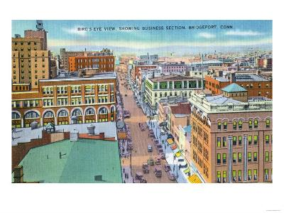 Bridgeport, Connecticut - Aerial View of Business Section of the City