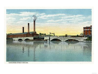 Bridgeport, Connecticut - Waterfront View of the Congress Street Bridge