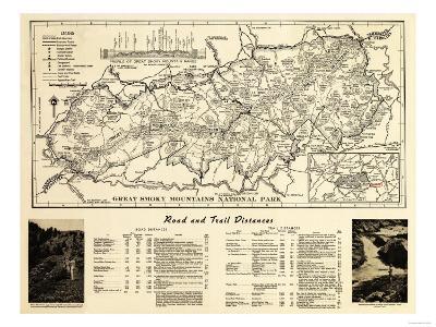 Great Smoky Mountains National Park - Panoramic Map