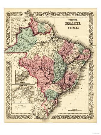 Brazil and Guayana - Panoramic Map