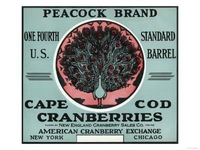 Cape Cod, Massachusetts - Peacock Brand Cranberry Label