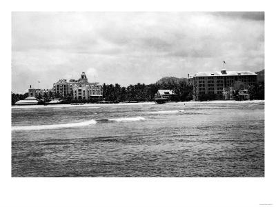 Honolulu, HA - View of Moana & Royal Hawaiian Hotels Photograph