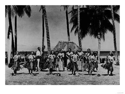 Hawaii - Line of Hula Girls Dancing Photograph