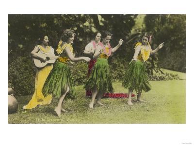 Hawaii - Hula Dancers in Color