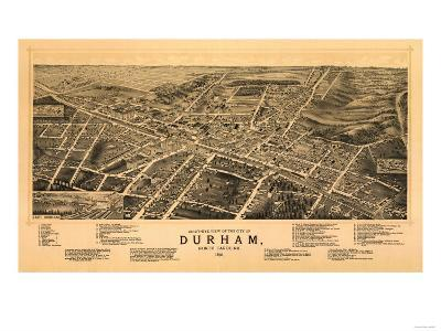Durham, North Carolina - Panoramic Map