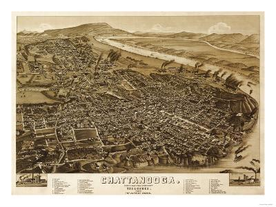 Chattanooga, Tennessee - Panoramic Map