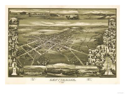 Gettysburg, Pennsylvania - Panoramic Map