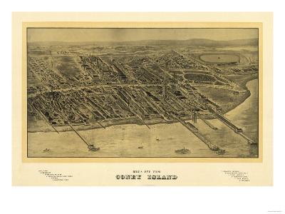 Coney Island, New York - Panoramic Map