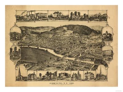 Corning, New York - Panoramic Map