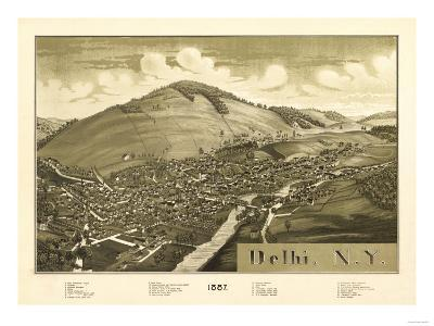 Delhi, New York - Panoramic Map