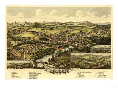 Henniker, New Hampshire - Panoramic Map