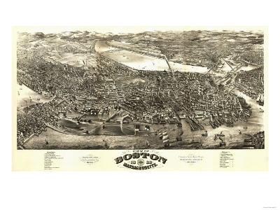 Boston, Massachusetts - Panoramic Map