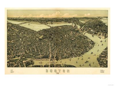Boston, Massachusetts - Panoramic Map