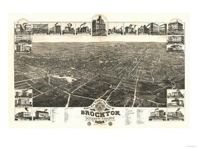 Brockton, Massachusetts - Panoramic Map