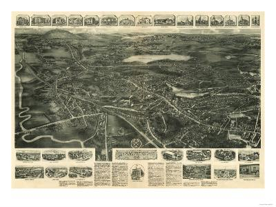 Canton, Massachusetts - Panoramic Map