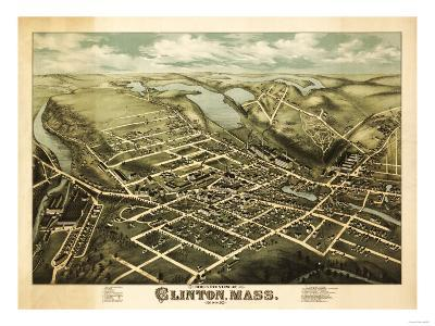 Clinton, Massachusetts - Panoramic Map