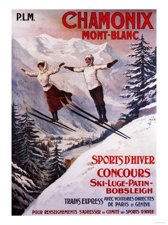 Chamonix Mont-Blanc, France - Skiing Promotional Poster