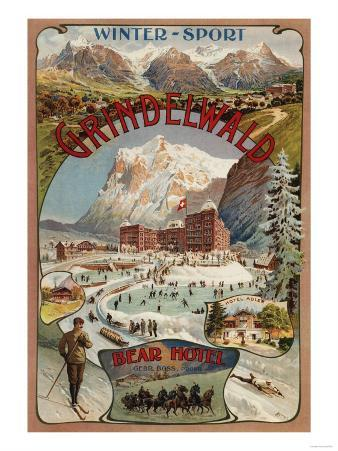 Grindelwald, Switzerland - View of the Bear Hotel Promotional Poster