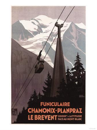 Chamonix Mont-Blanc, France - Funiculaire Le Brevent Cable Car Poster
