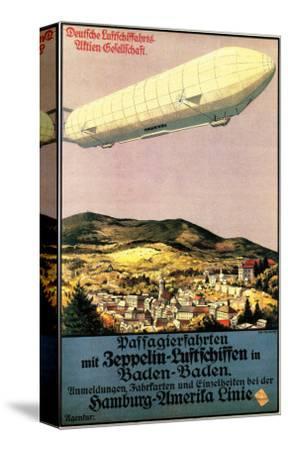 Baden-Baden, Germany - Luftschiff Zeppelin Airship over Town Poster