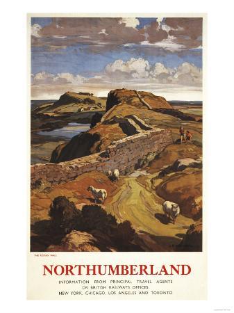 Northumberland, England - Hadrian's Wall and Sheep British Rail Poster