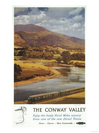 North Wales, England - Conway Valley Scene British Railways Poster